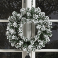 NSH julekrans med lys og sne