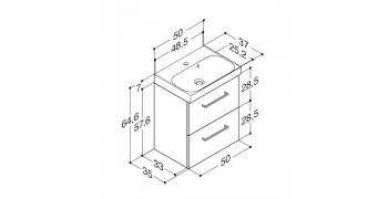 Møbelpakke med uno marmorvask og skuffer
